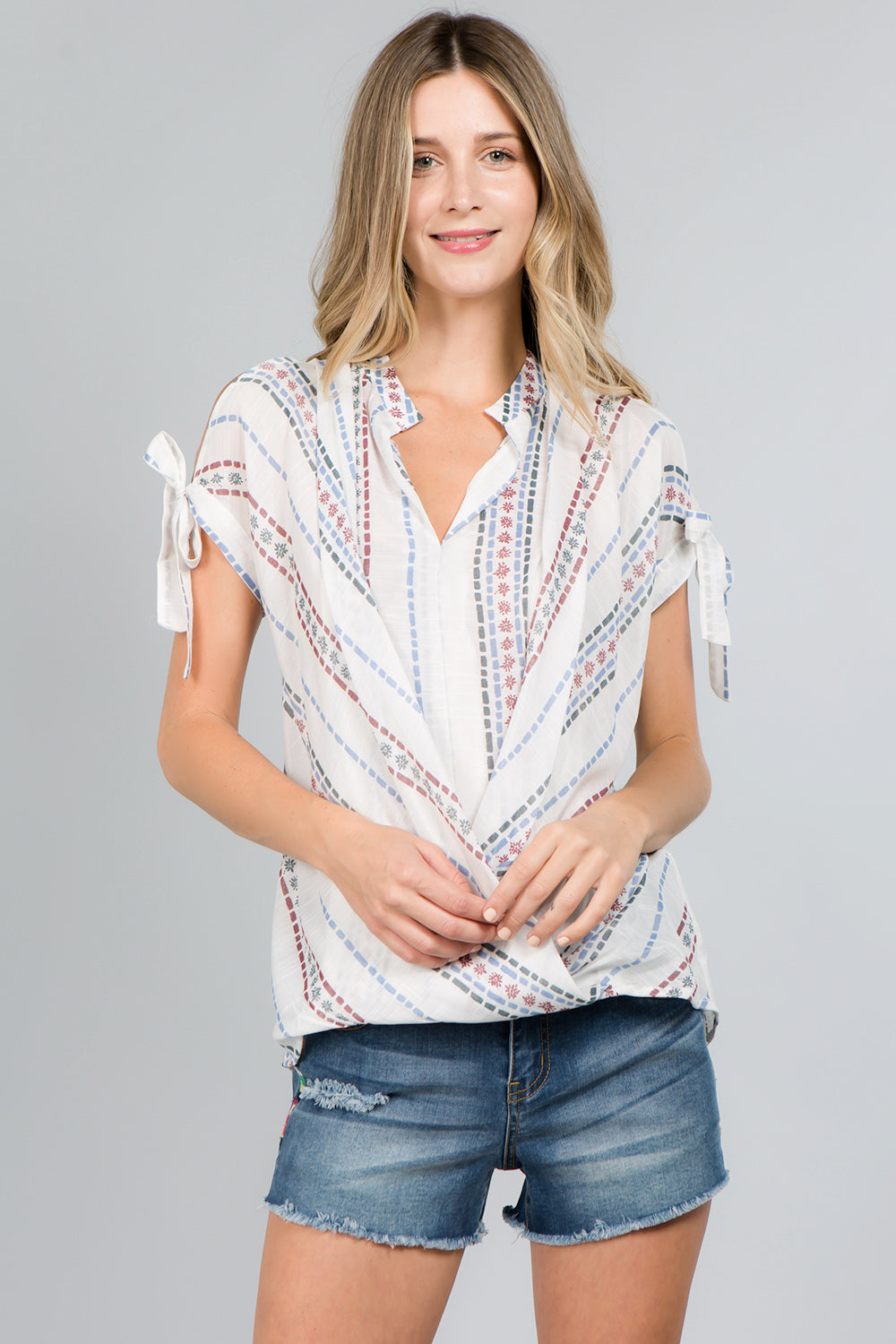 T4011 Cold Shoulder Wrap Top