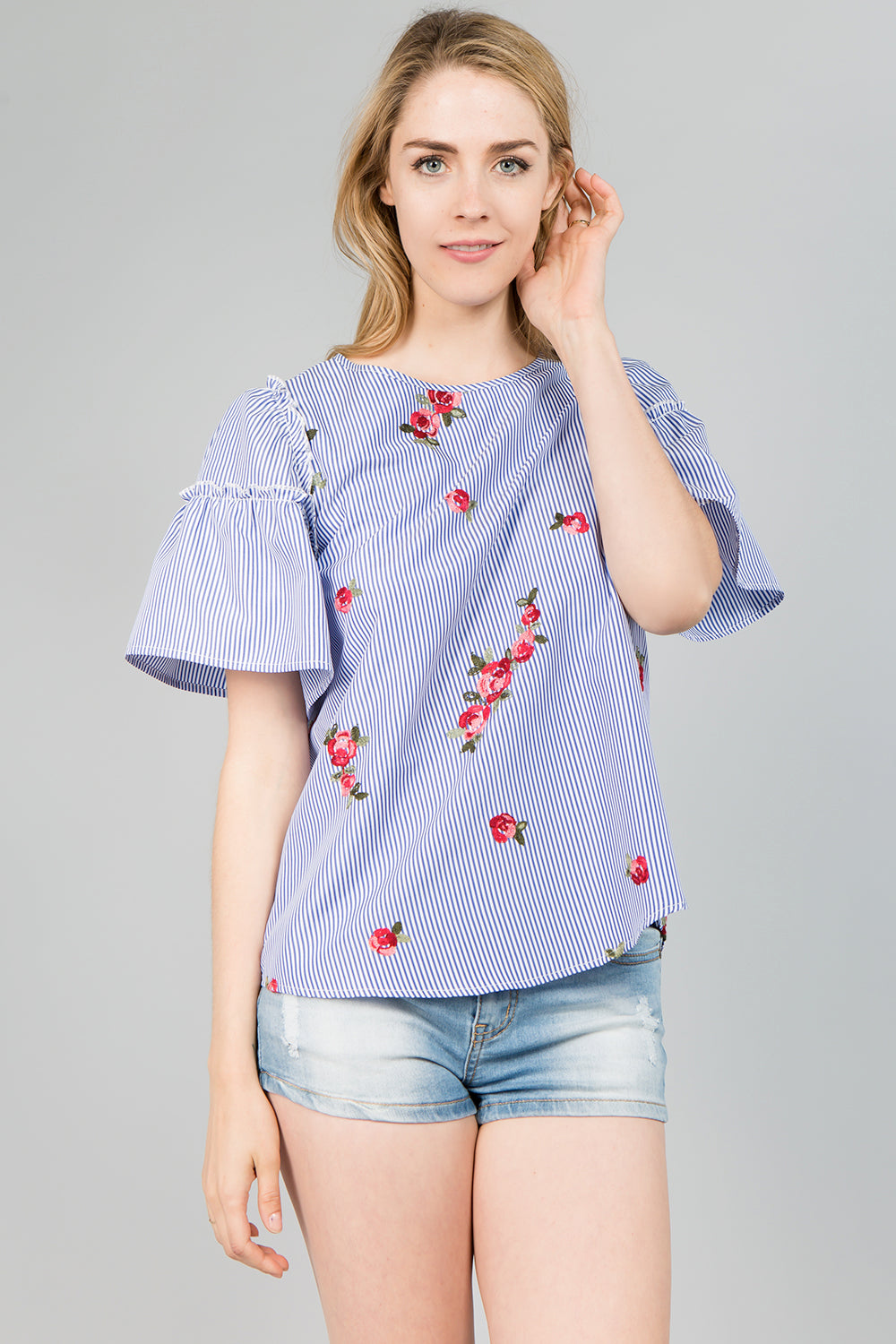 f04cc1cb T4021 Floral Embroidery Striped Top – SeeandBeSeen