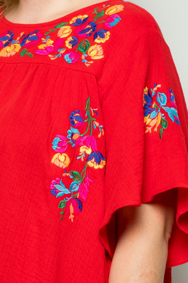 WD5065 EMBROIDERY DETAIL DRESS - RED