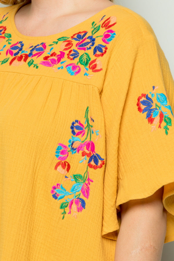 WD5065 EMBROIDERY DETAIL DRESS - YELLOW