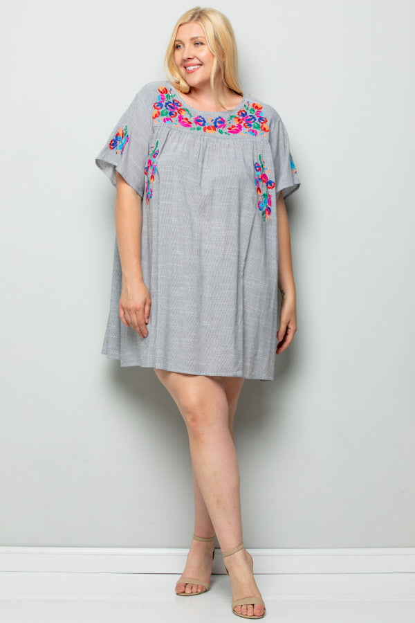 WD5119 Floral Embroidery Dress