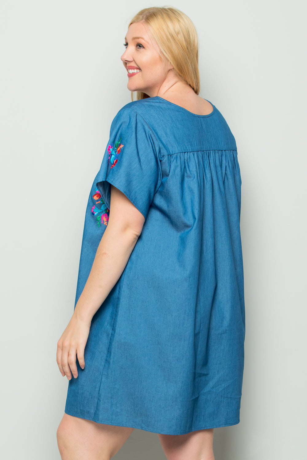 WD5263 Embroidery Denim Dress