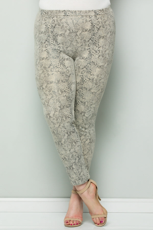 WP7045 Snake Skin Leggings - OFF WHITE
