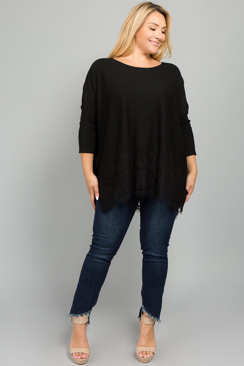 WSW6001 Lace Trim Sweater - Black