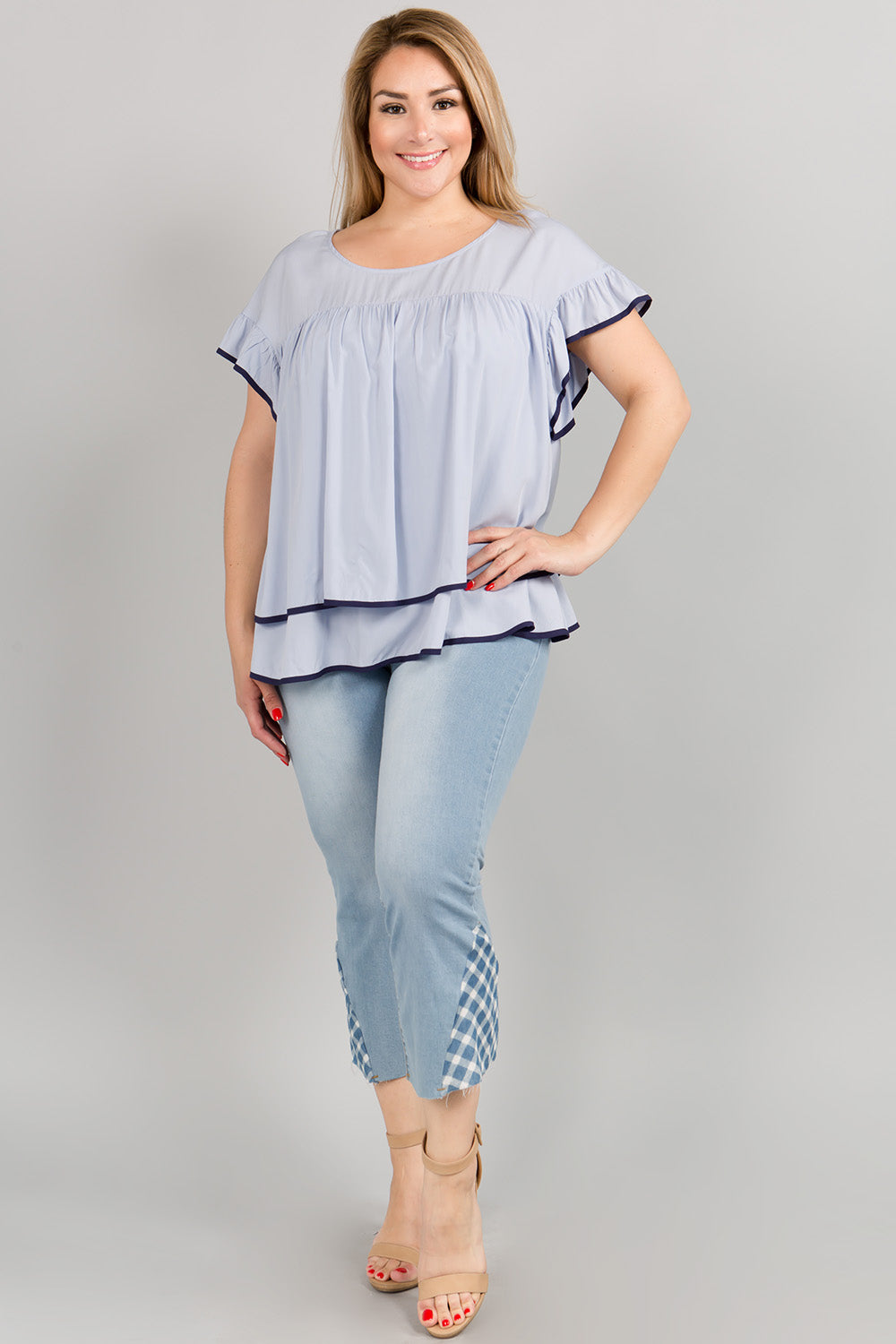 WT2105 Ruffle Sleeve Top