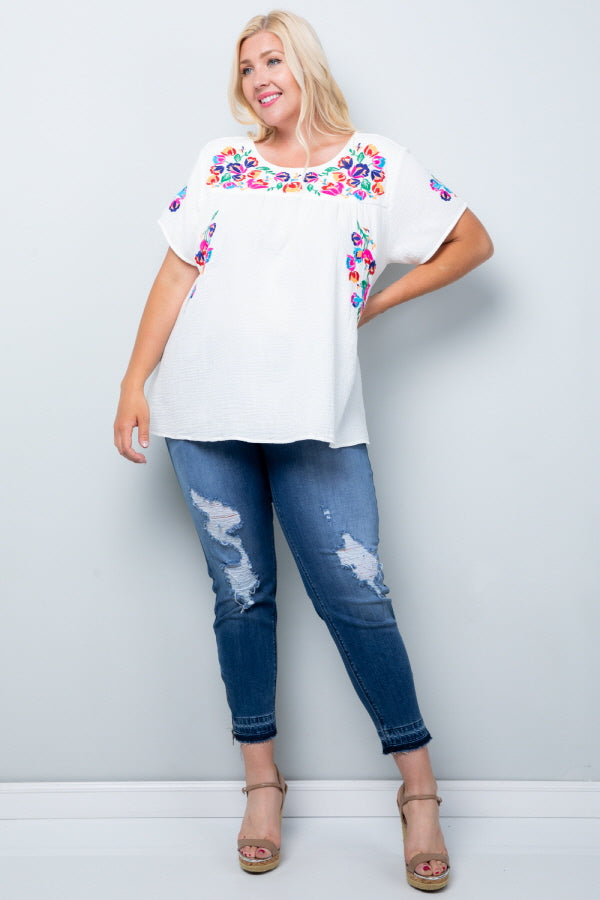 WT2185 Embroidery Top - Yellow