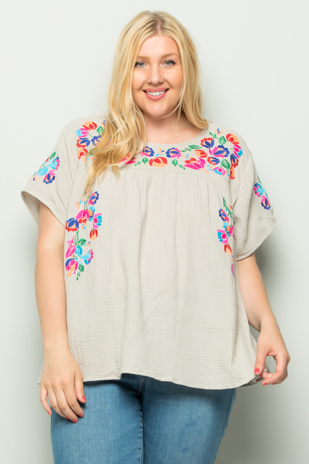 WT2185 Embroidery Top - GREY