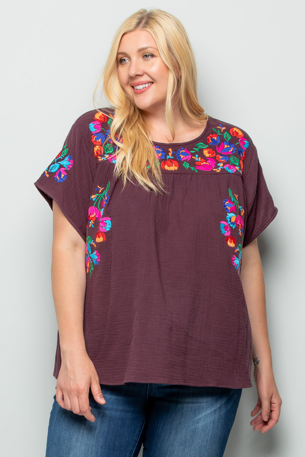 WT2185 Embroidery  Top - BURGUNDY