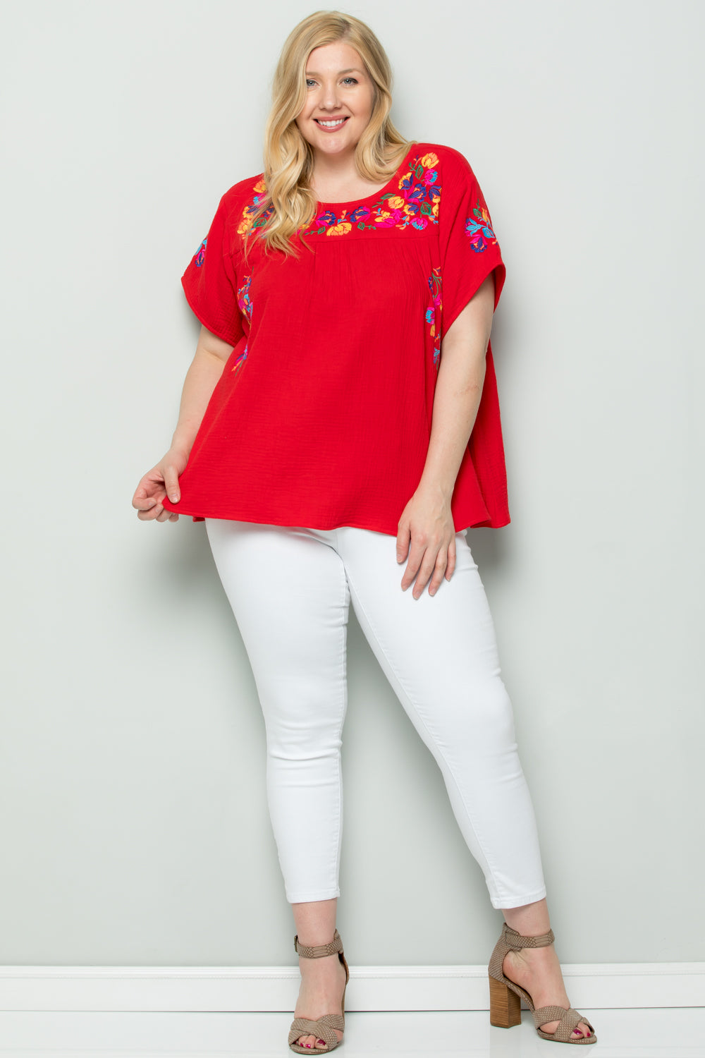 WT2185 Embroidery Top - Red