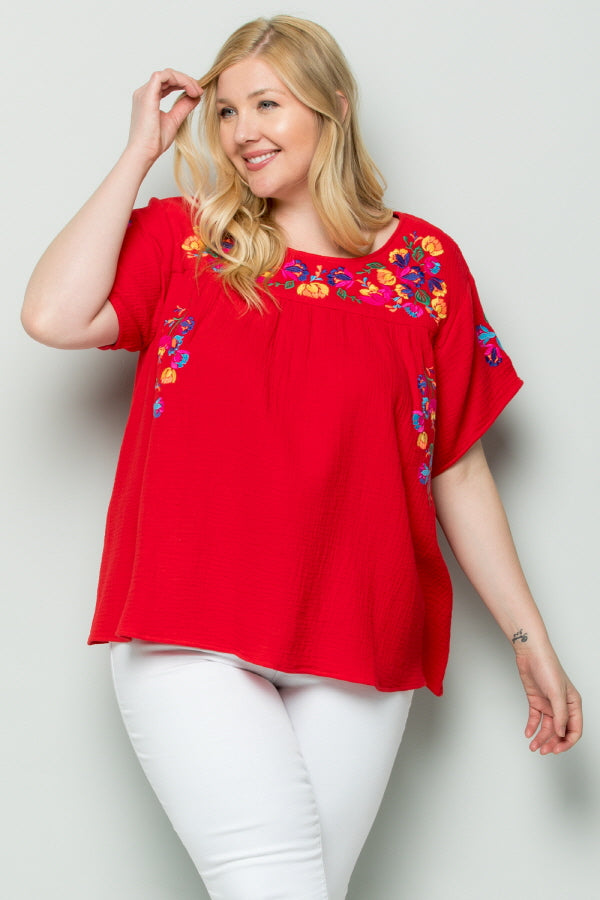WT2185 Embroidery Top - PLUM
