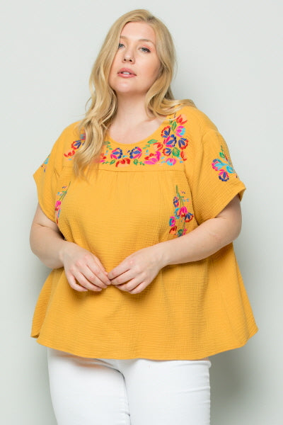 WT2185 Embroidery Top- Yellow