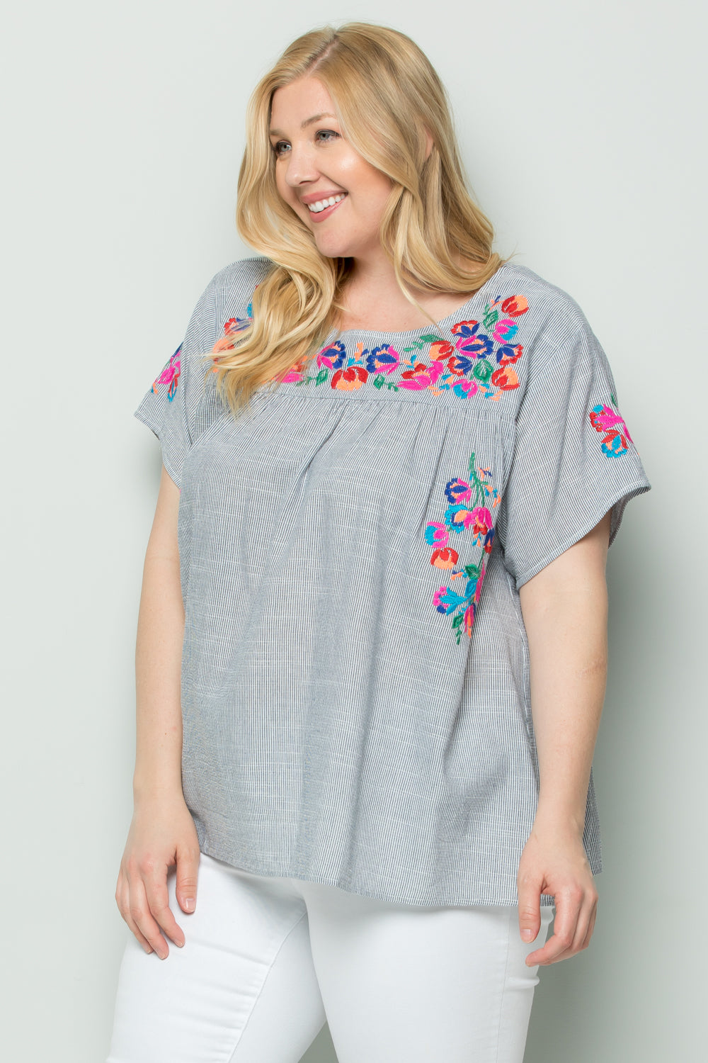 WT2377 Floral Embroidery Top - Blue