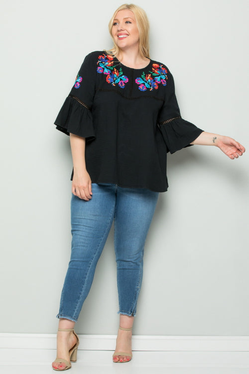 WT2727-1 Embroidered Top - Black