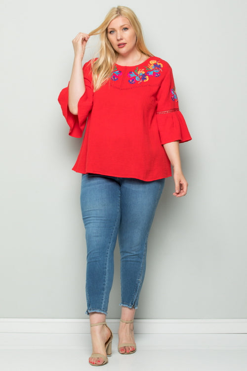 WT2727-1 Embroidered Top - Red