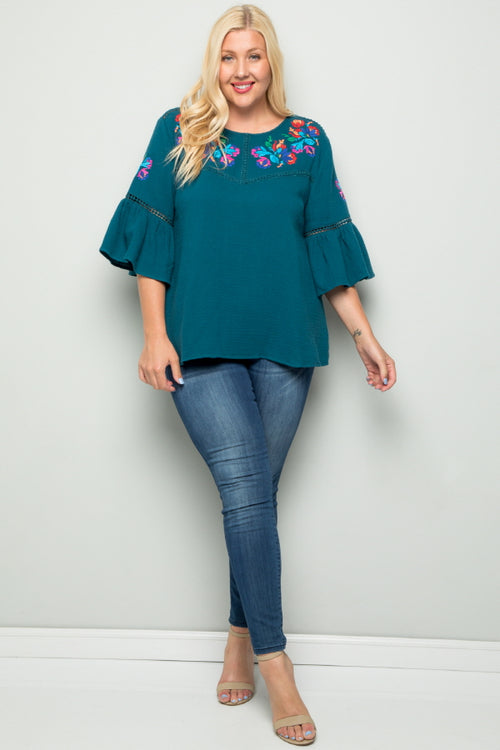 WT2727-1 Embroidered Top - TEAL