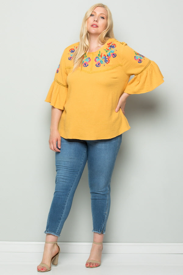 WT2727-1 Embroidered Top - Yellow