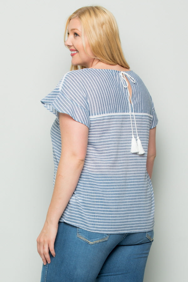 WT2741 Embroidered Stripe TOP