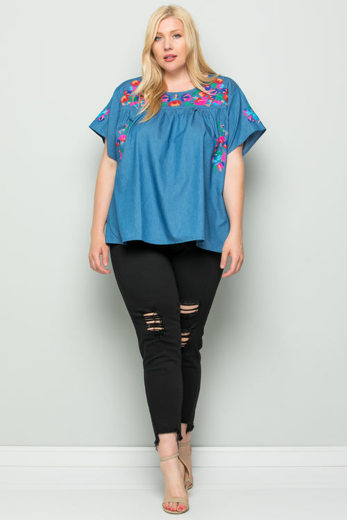 WT2745 Embroidery Denim Top