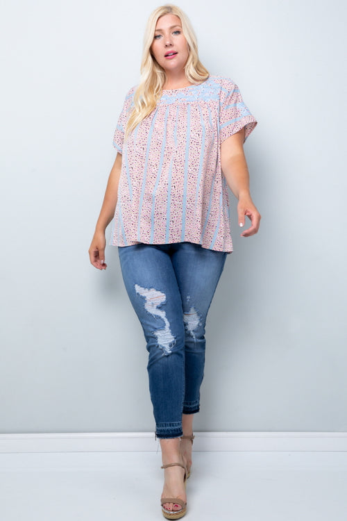 WT2819 Floral Emboridery Top - BLUE