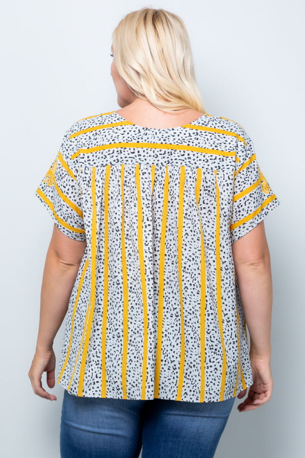 WT2819 Floral Emboridery Top - YELLOW
