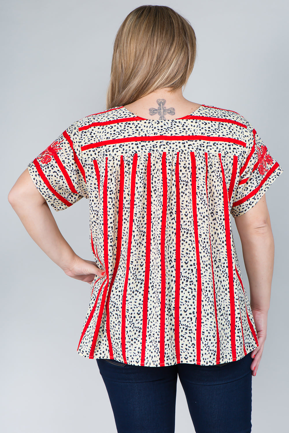 WT2819 Floral Emboridery Top - Red