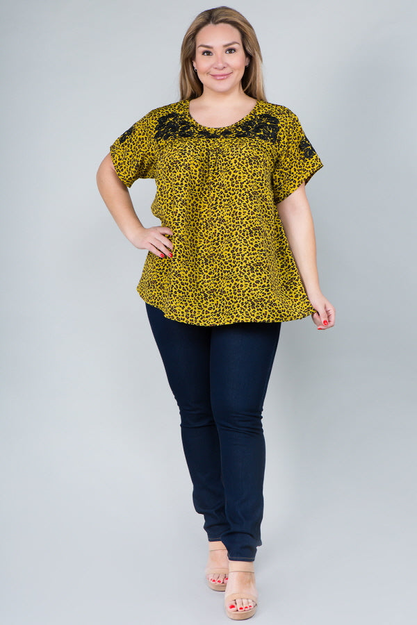 WT2838 Floral Emboridery Animal Print - Yellow