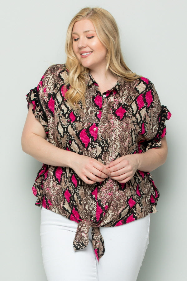WT3037 Colorful Snake Skin Print Top - PINK