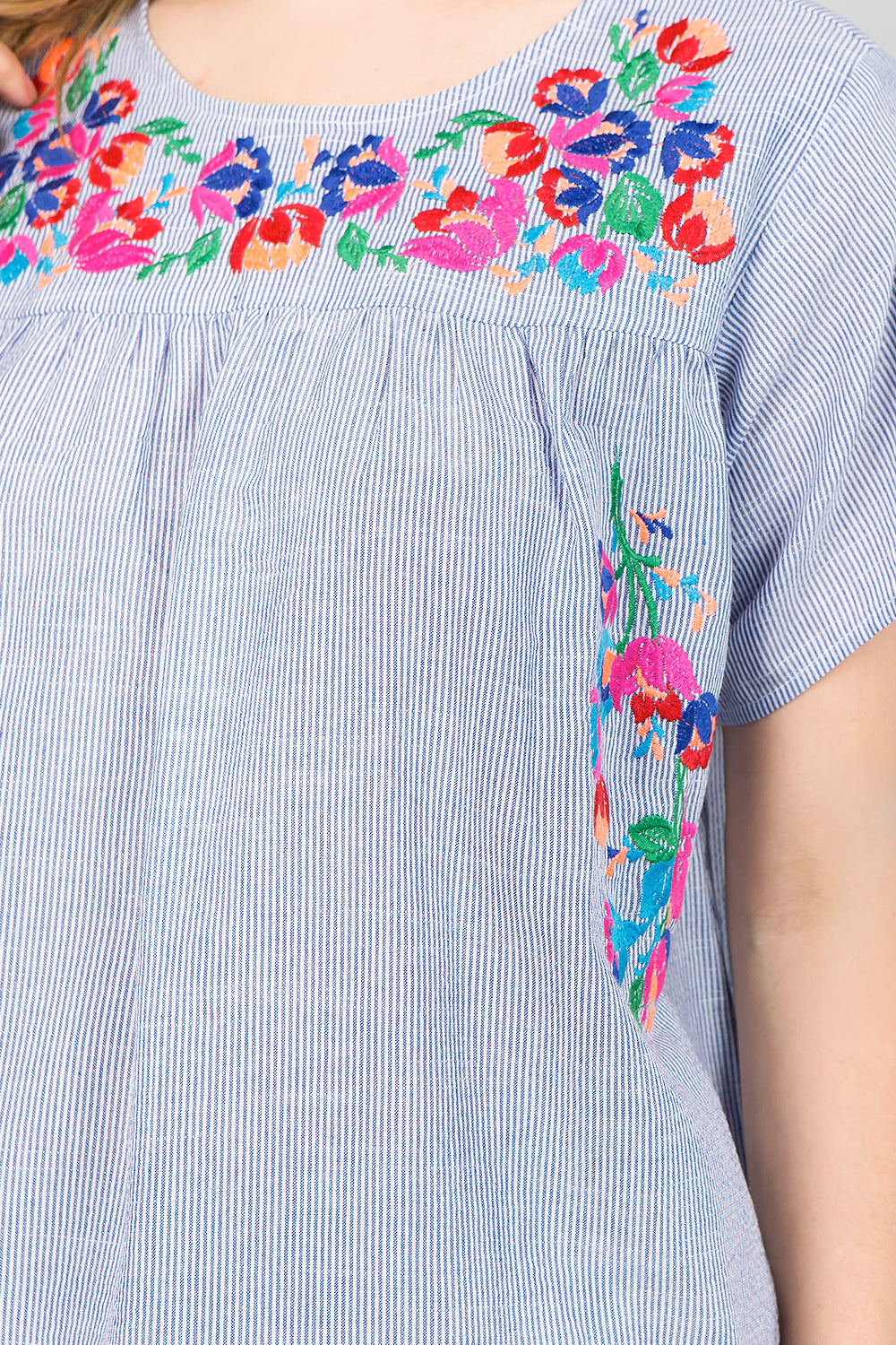 T2377 Floral Embroidery Top - Blue