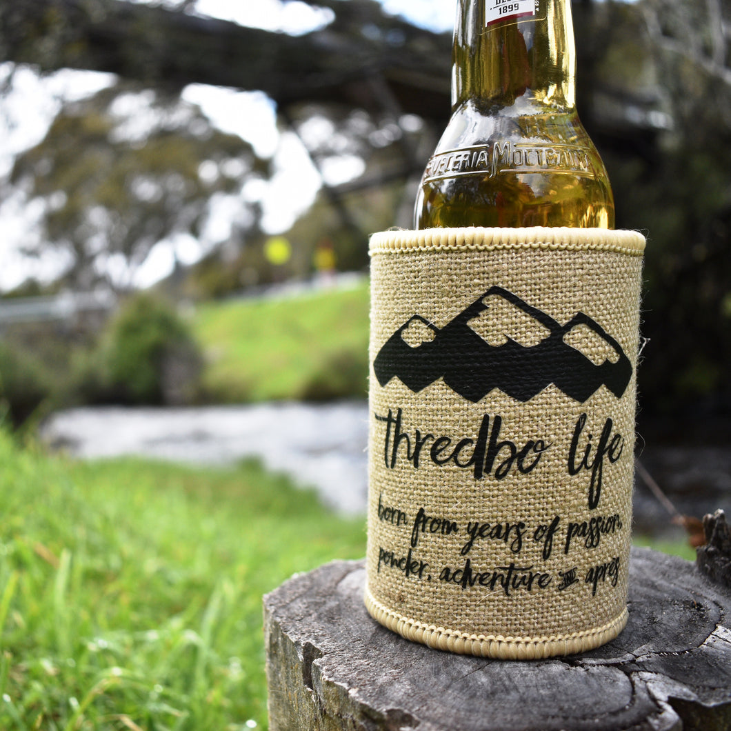 Thredbo Life Hessian Stubby Holder