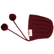Knitted Pom Pom Bonnet - Mulberry