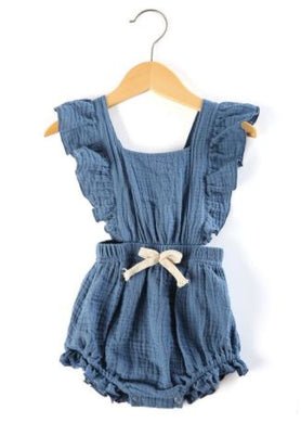 Cross Over Romper - Cornflower