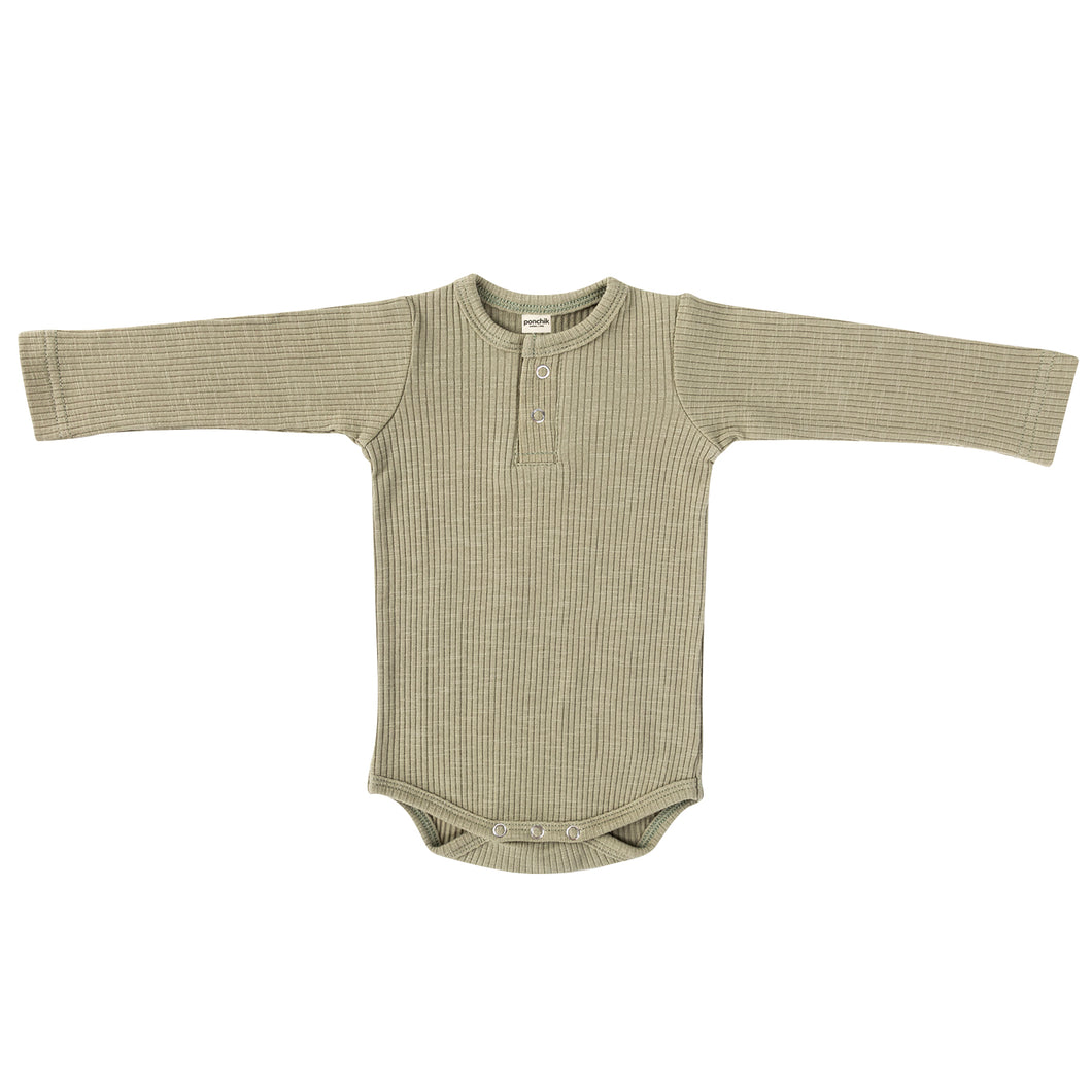 Cotton Ribbed Bodysuit - Sage