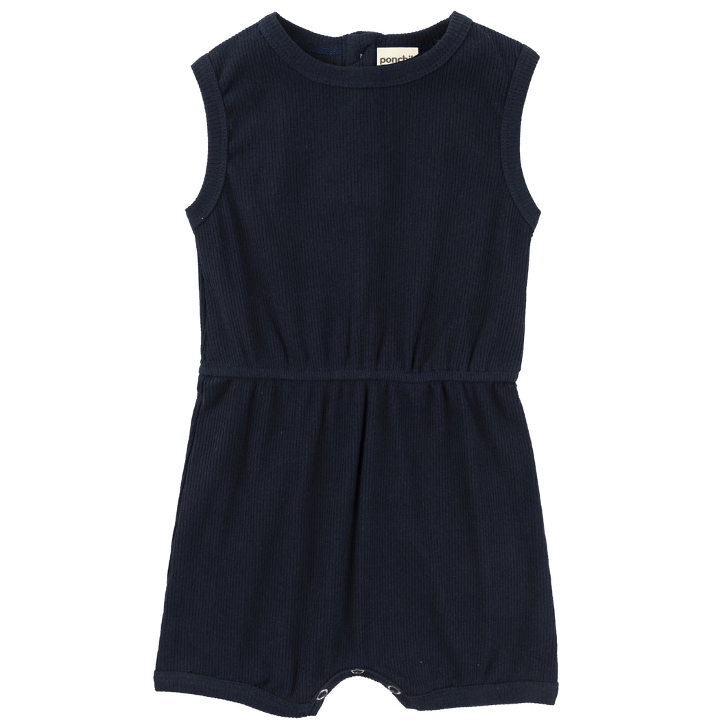 Ribbed Cotton Romper - French Navy