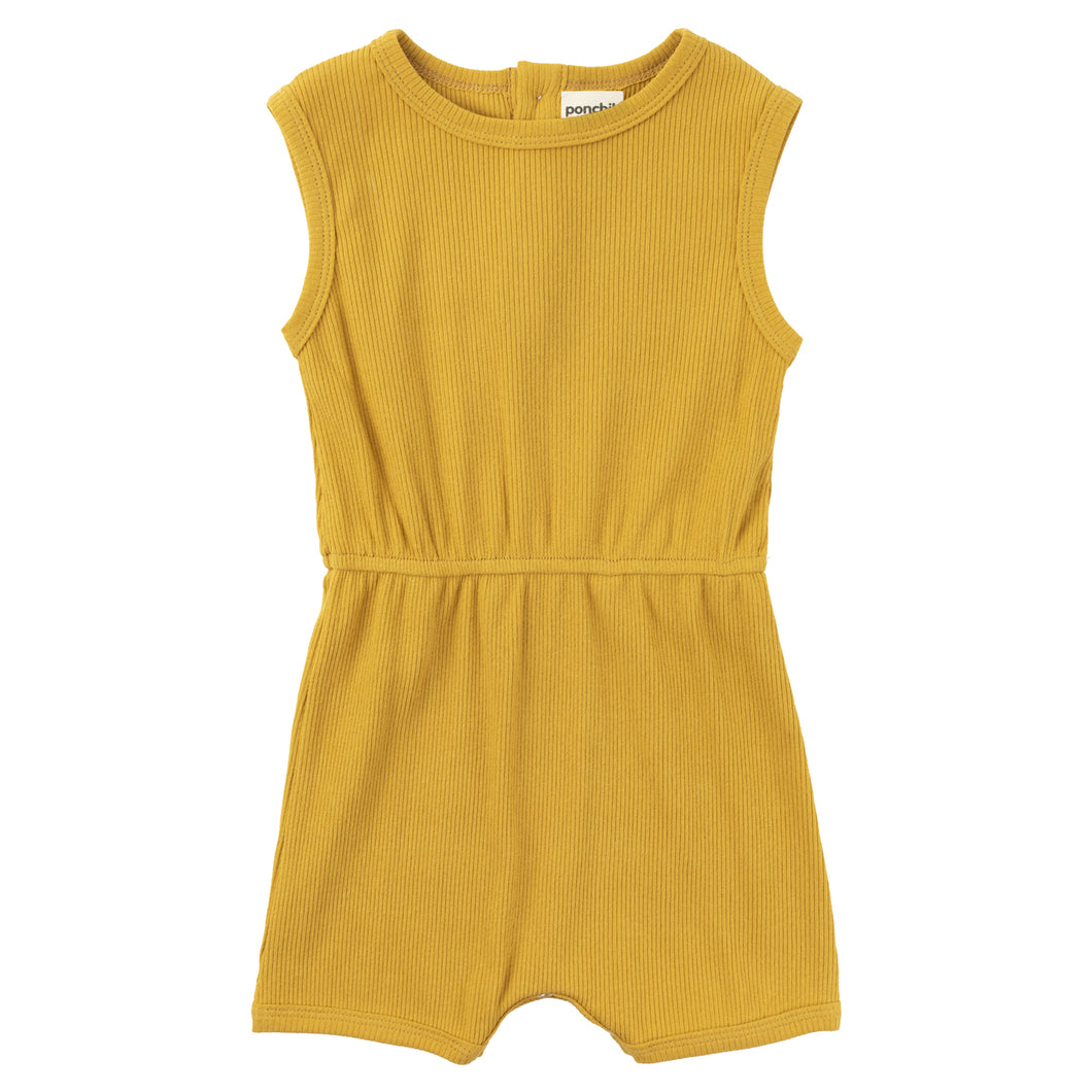 Ribbed Cotton Romper - Sunflower