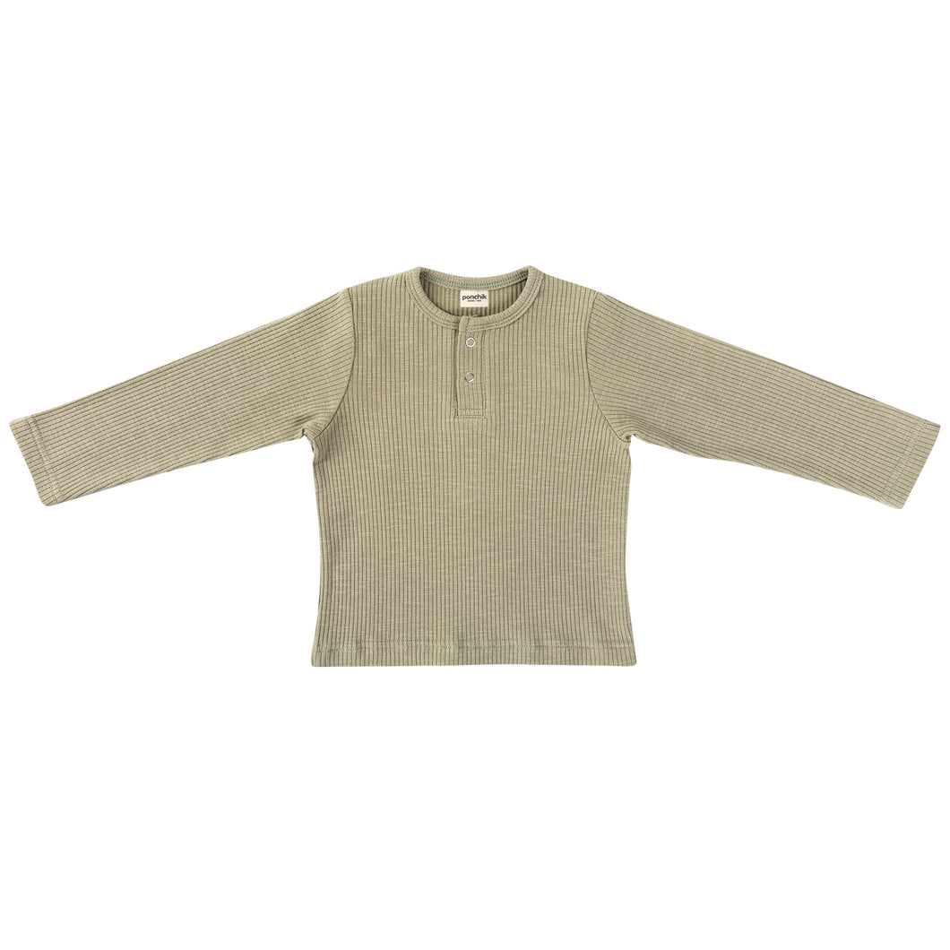 Cotton Ribbed Henley - Sage