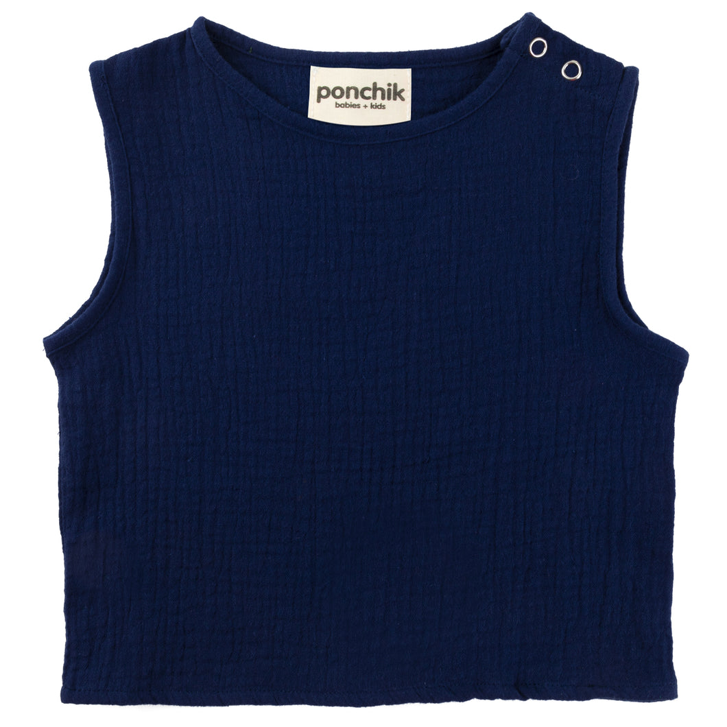Muslin Cotton Singlet - French Navy