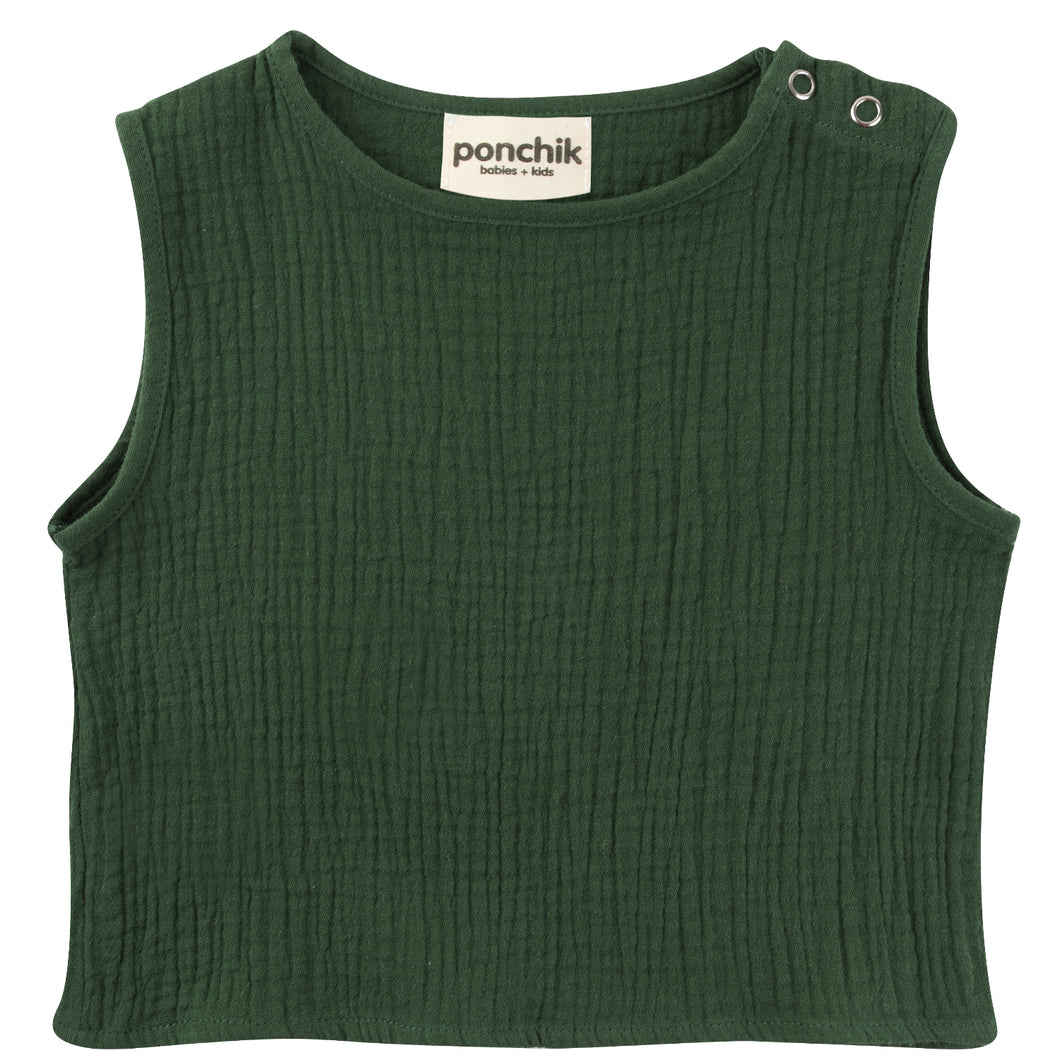 Muslin Cotton Singlet - Fern