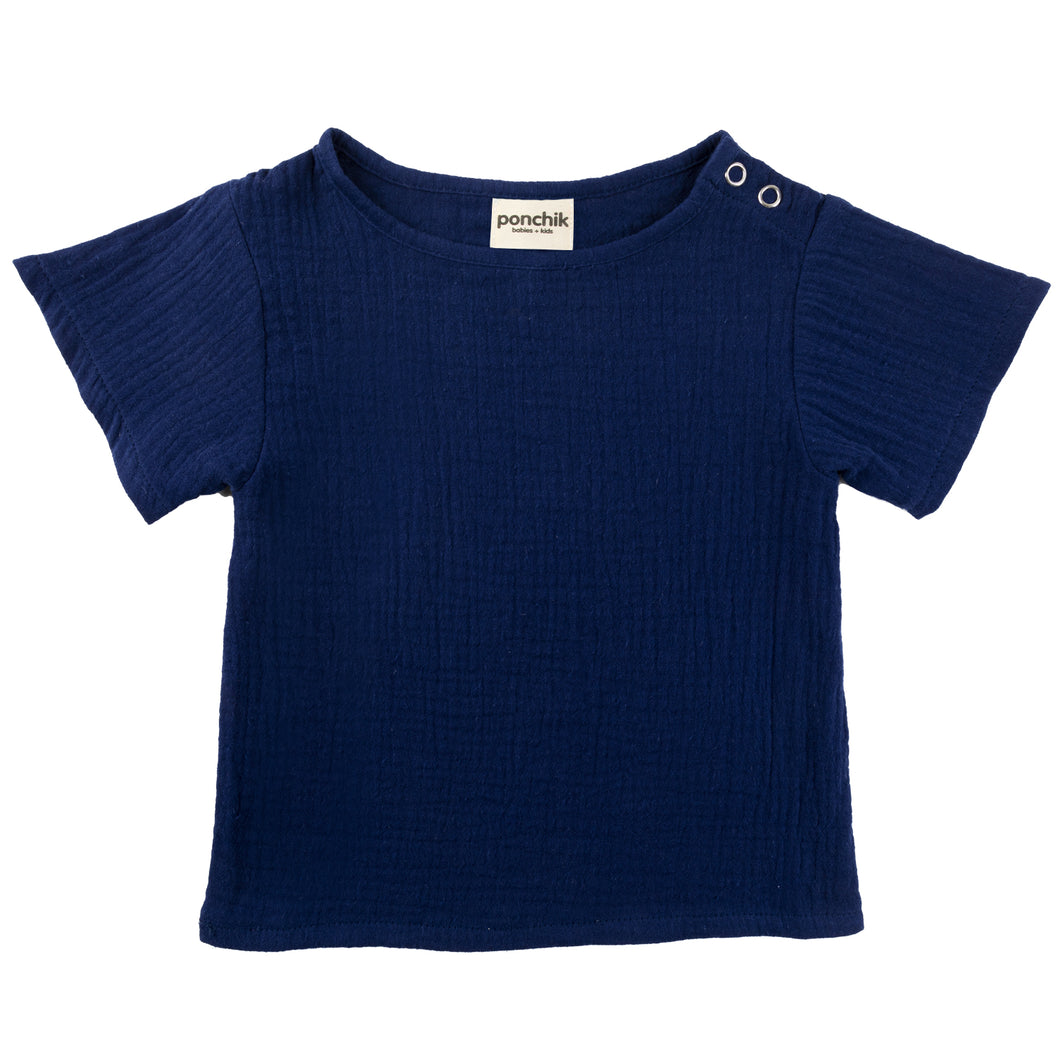 Muslin Cotton T Shirt - French Navy