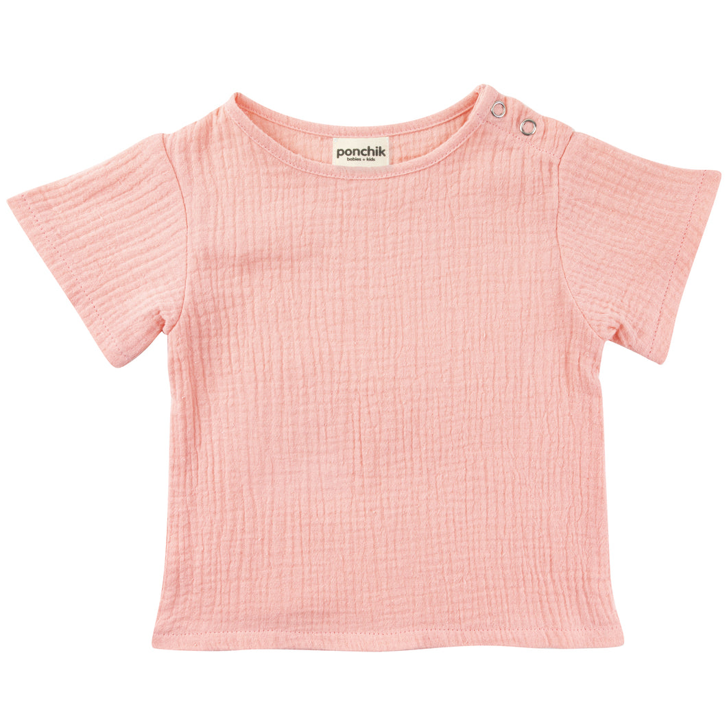 Muslin Cotton T Shirt - Rose