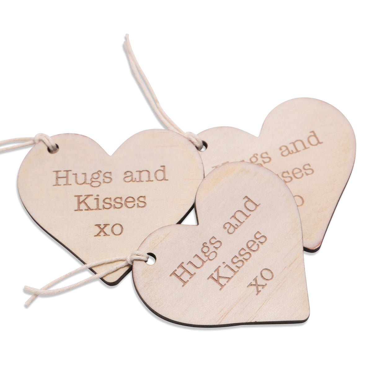 wood hugs and kisses heart tag