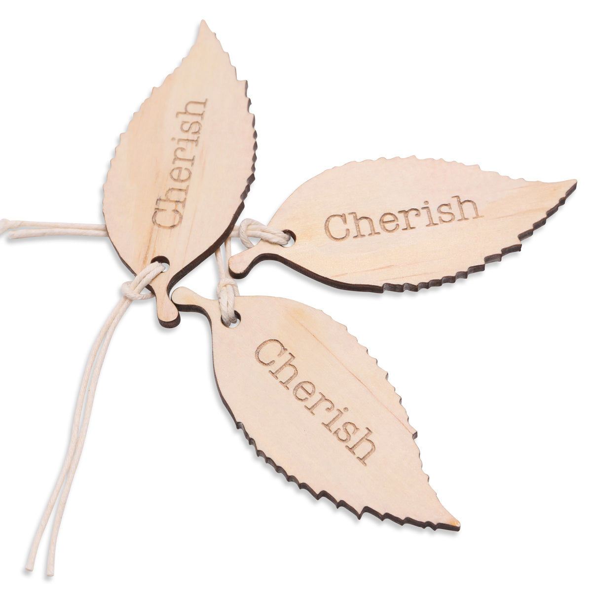 Wood cherish leaf tag