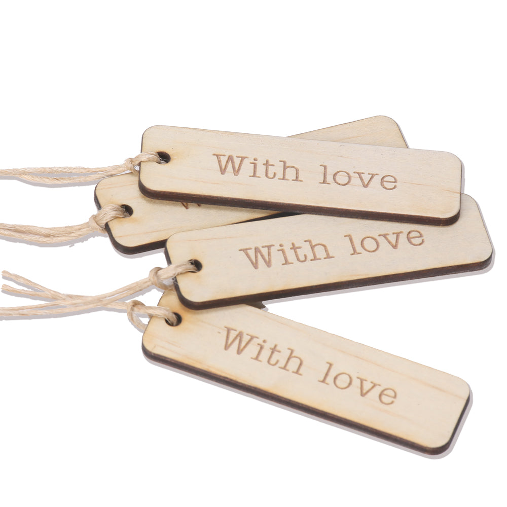 wood with love tag
