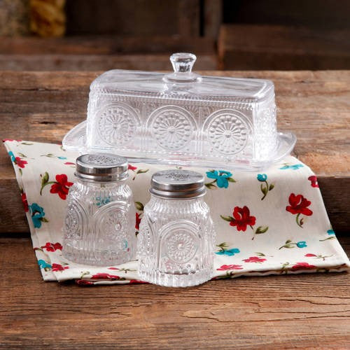 The Pioneer Woman Adeline Glass Butter Dish with Salt & Pepper Shakers