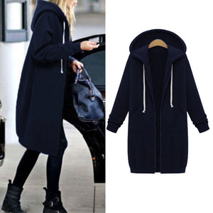 Karen Giles Warm Long Zipper Hooded Jacket