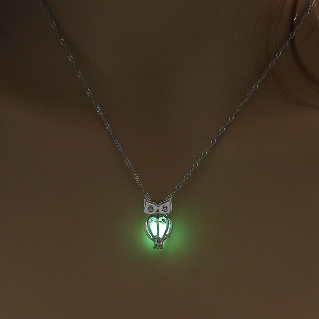Wendy Glowing Owl Pendant Necklace