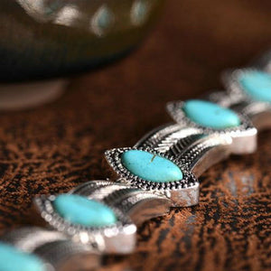 Eye Shape Turquoise Collar Choker Necklace - Brilliant Hippie