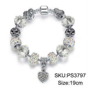 Luxury Silver Crystal Charm Bracelet - Brilliant Hippie