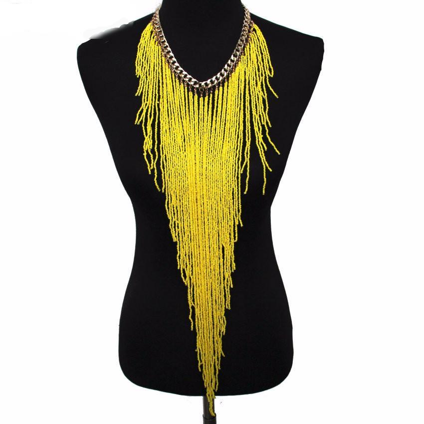 Statement Necklace Long Yellow tassel Necklace Layered and Long  Hippie Gypsy Style Crochet Rope Necklace Boho Chic Festival Jewelry