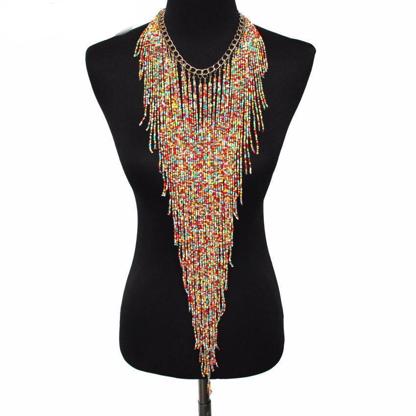 Beaded Tassel Necklace - Brilliant Hippie