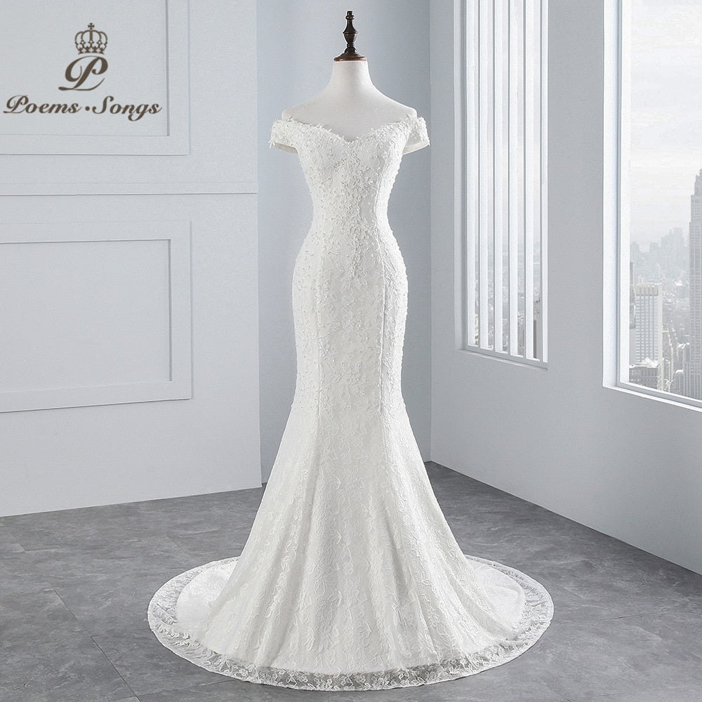 Laurel Spencer Boat Neck Luxury Lace Mermaid Wedding Dress